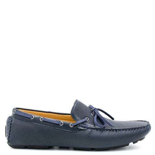 Mens navy moccasin with tie