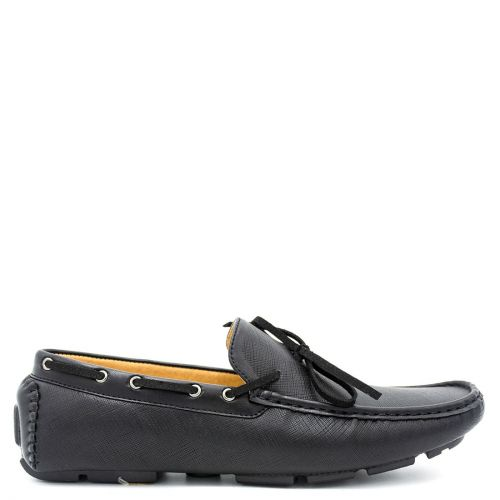 Mens black moccasin with tie