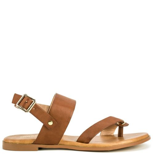 Tabacco sandal with thong