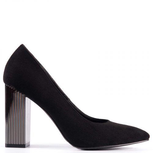 Black pump with metallic heel