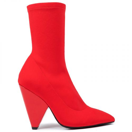 Red textile bootie