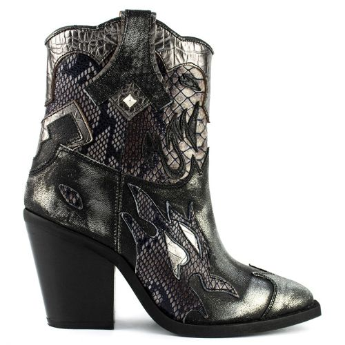 Pewter leather western boot
