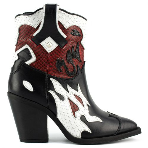 Black and white leather western boot
