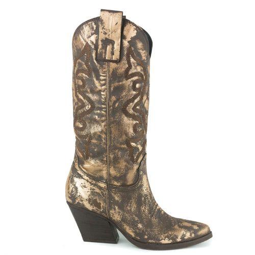 Χρυσή δερμάτινη western μπότα