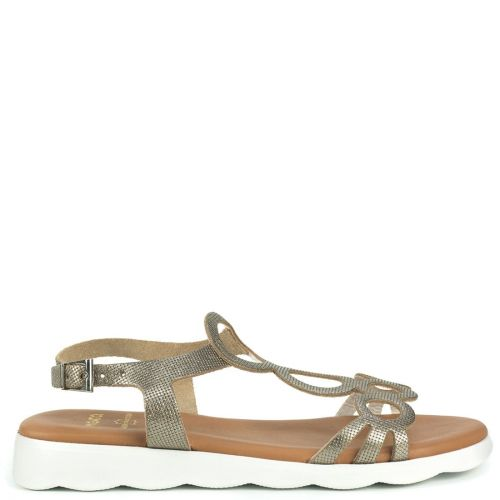 Bronze leather sandal with decorative circles