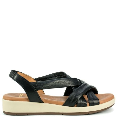 Black leather sandal with crossed straps