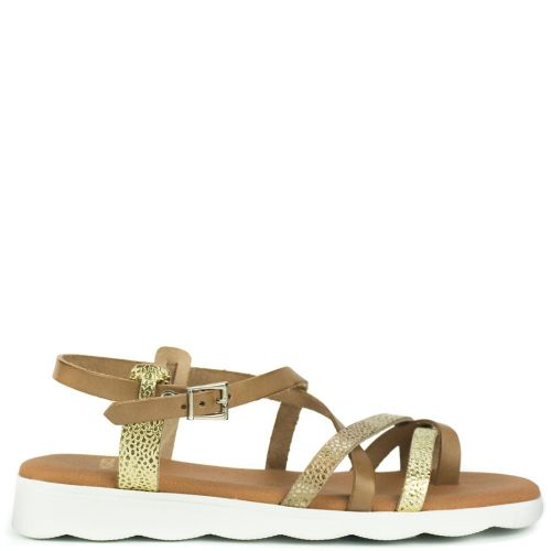 Beige leather multistrap sandal