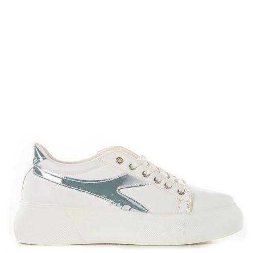 White sneaker with iridescent design