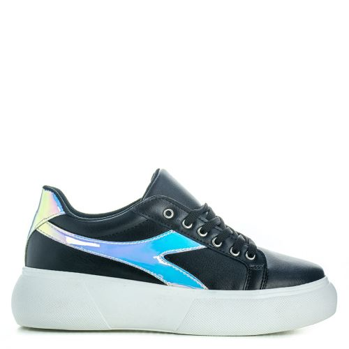 Black sneaker with iridescent design