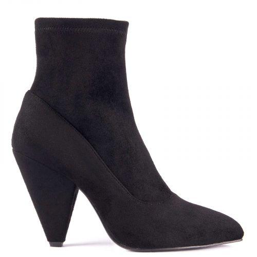 Black bootie with cone heel