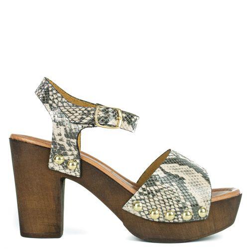 Beige snakeskin leather sandal