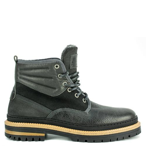 Men's black leather low cut boot