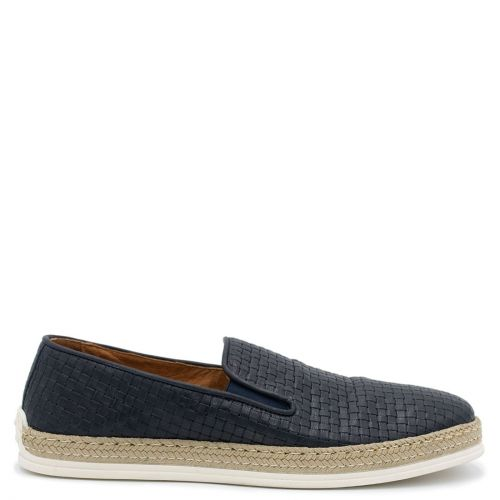 Men's navy leather woven espadrille