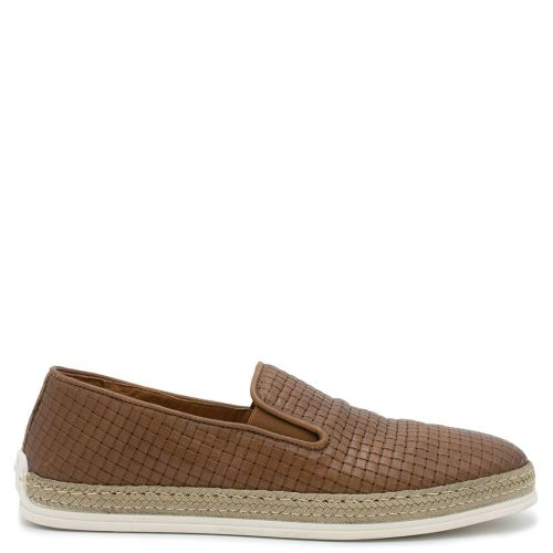 Men's tan leather woven espadrille