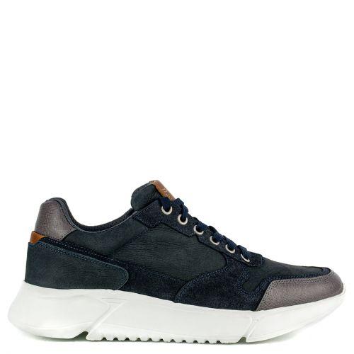 Men's blue leather sneaker