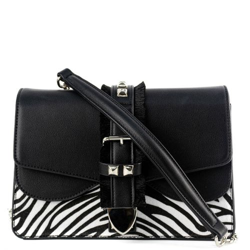 Black zebra-hair textured bag