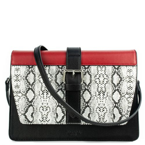 Color-block τσάντα με λευκό φίδι