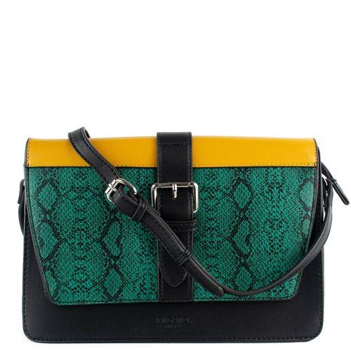 Color-block τσάντα με πράσινο φίδι