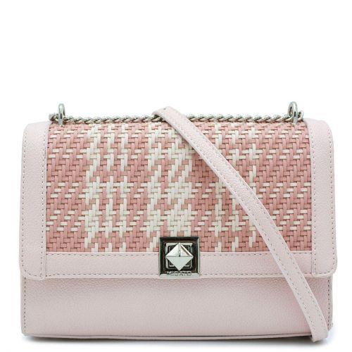 Ροζ πλεκτή τσάντα ώμου