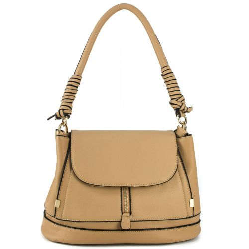 Beige handbag with a flap