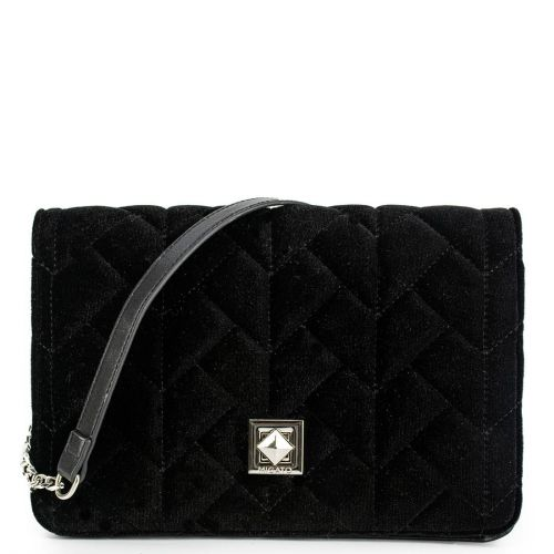 Black velvet quilted bag