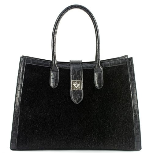 Black pony-hair handbag