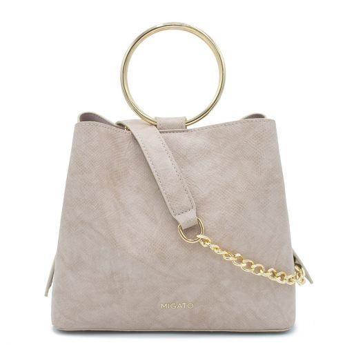 Beige lizard textured handbag