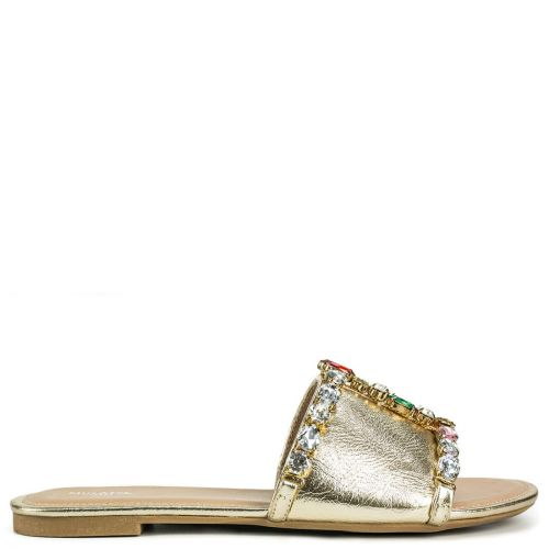 Gold metallic flat sandal with crystals
