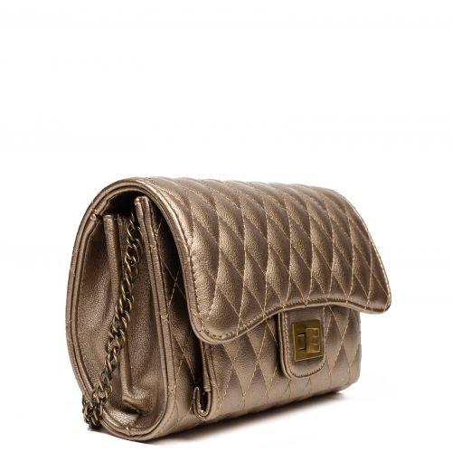 Bronze quilted shoulder bag