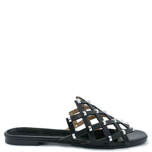 Black snakeskin sandal