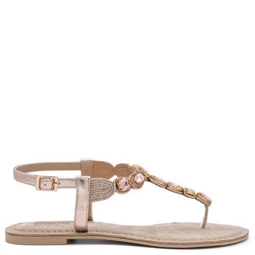 Pink gold sandal with rhinestones