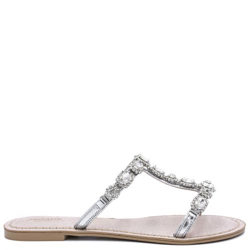 Silver sandal with rhinestones