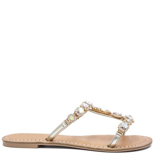 Gold sandal with rhinestones