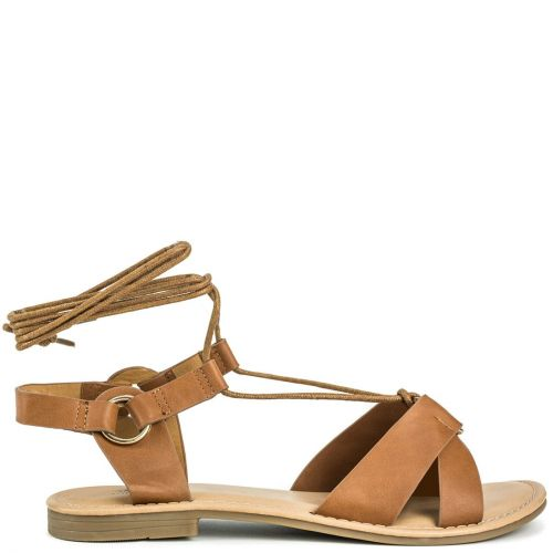 Tobacco lace up sandal