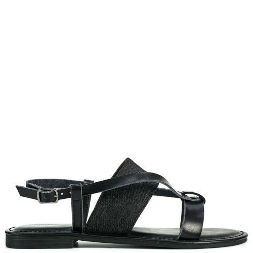 Black multistrap flat sandal
