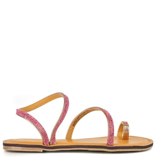 Pink gold sandal with rhinestones