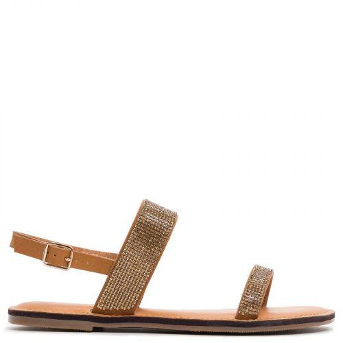 Tobacco slingback sandal with rhinstones.