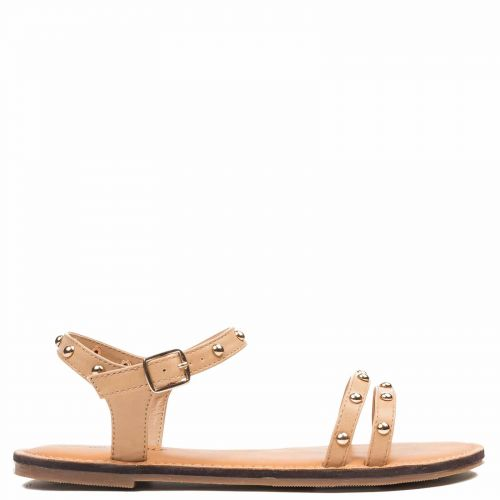 Camel sandal with studs