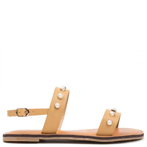 Beige sandal with pearls
