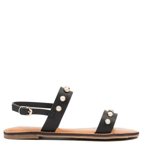 Black sandal with pearls