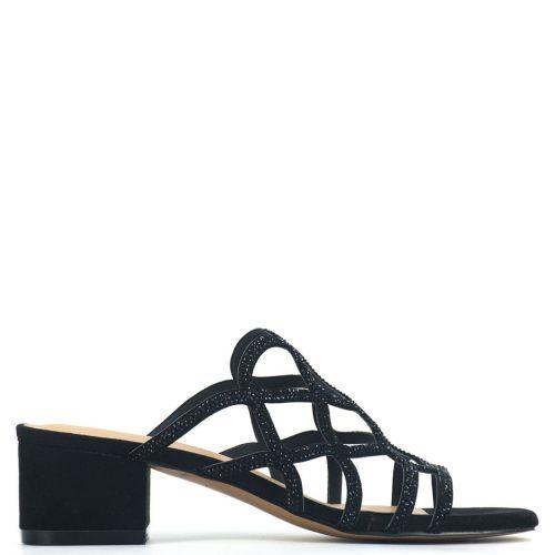 Black high heel sandal with rhinestones