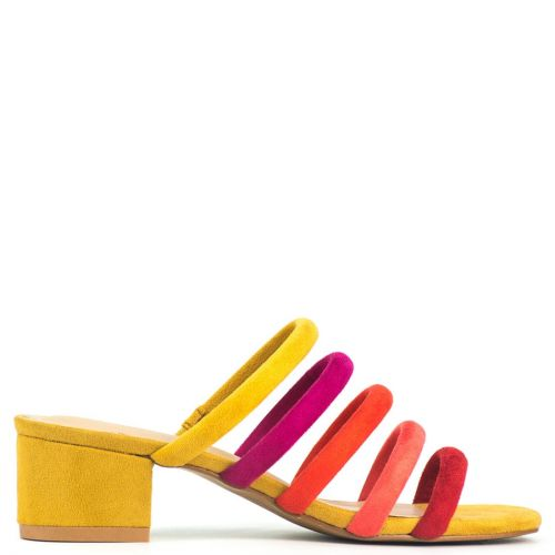 Yellow multistrap sandal in suede