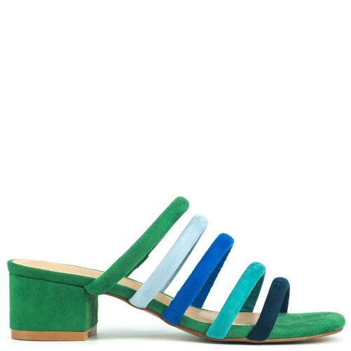 Green multistrap sandal in suede
