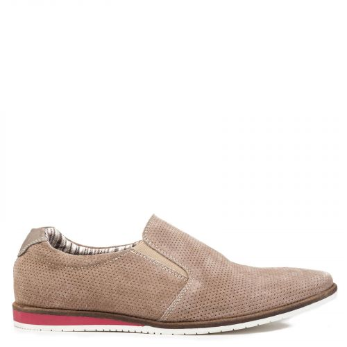 Men's taupe leather loafer