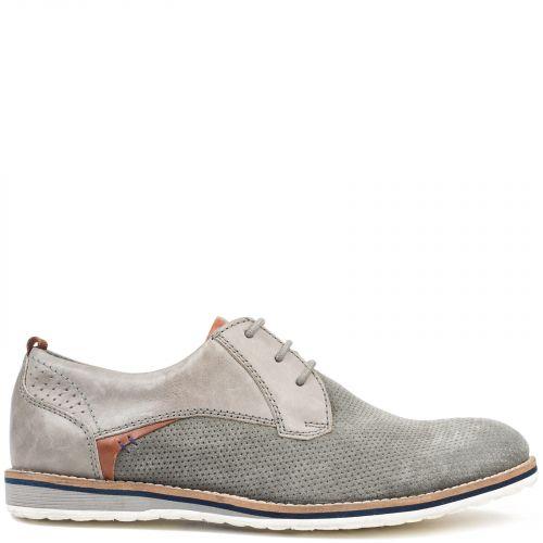 Men's grey leather Oxford