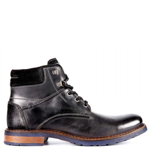 Black leather street boot