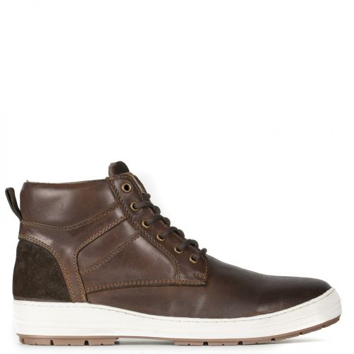 Brown leather men's sneaker low cut boot