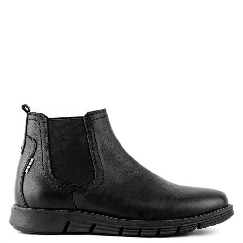 Men's black leather boot