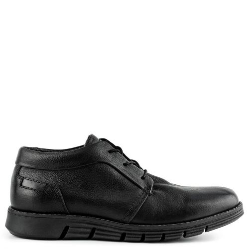 Men's black leather derby
