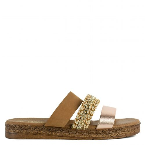 Brown / Gold leather platform with bands